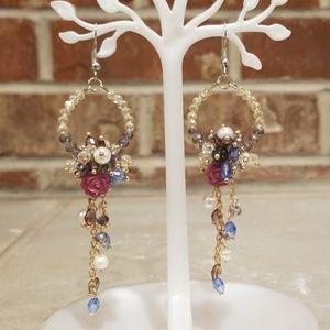 Multi colored Crystal Beaded Earrings